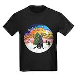XMusic-Flat Coated Retrvr. Kids Dark T-Shirt