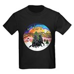 XMusic2-Two Flat Coated Retr. Kids Dark T-Shirt