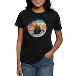 XMusic2-Two Flat Coated Retr. Women's Dark T-Shirt