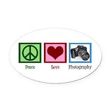 Peace Love Photography Oval Car Magnet