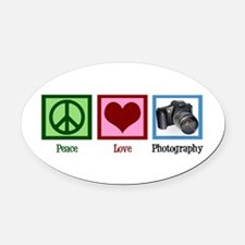 Peace Love Photography Oval Car Magnet
