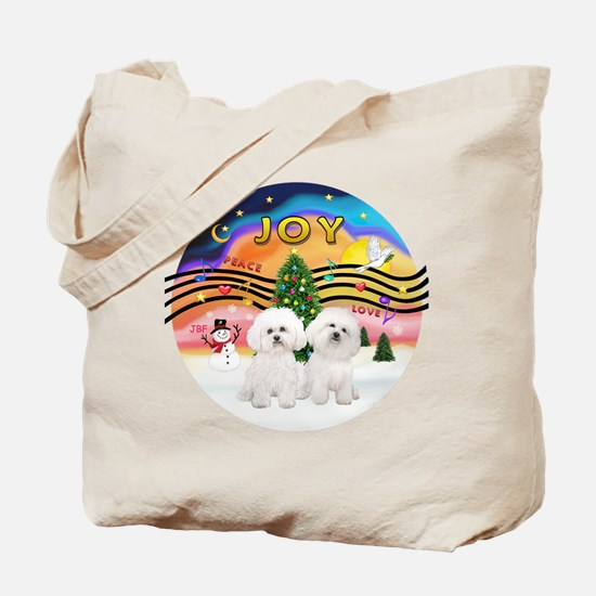 XMusic2 - Two Bichon Tote Bag
