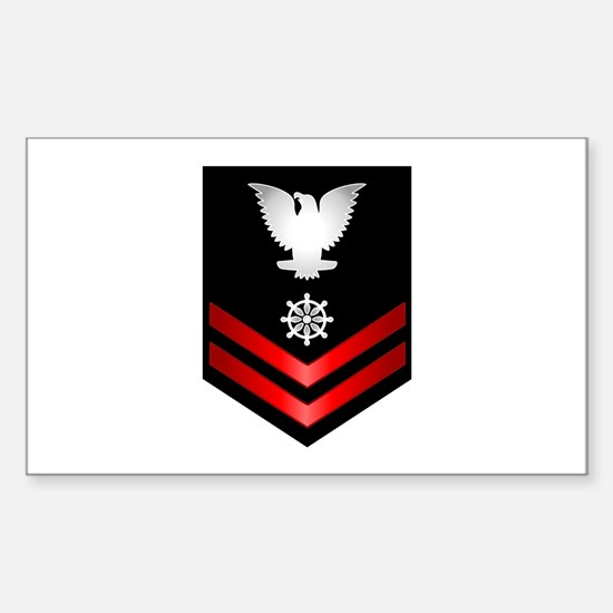 Navy PO2 Quartermaster Sticker (Rectangle)