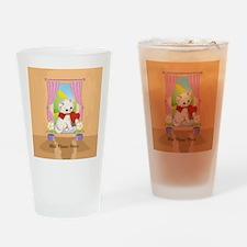 Personalized Cute Love Heart Kitten Drinking Glass