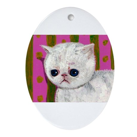 Sad Allergic cat Ornament (Oval)