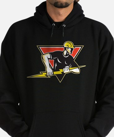 Electrician Lightning Bolt Retro Hoodie (dark)