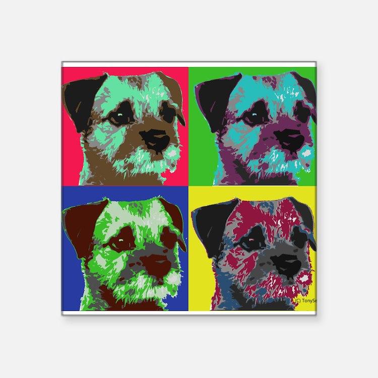 "Pop Art Border Terrier Square Sticker 3"" x 3"""