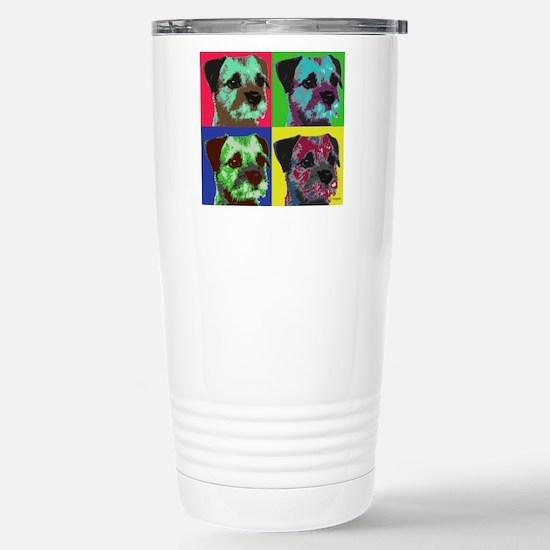 Pop Art Border Terrier Stainless Steel Travel Mug