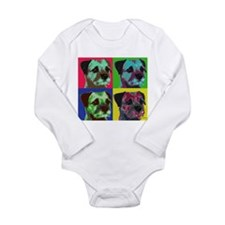 Pop Art Border Terrier Long Sleeve Infant Bodysuit