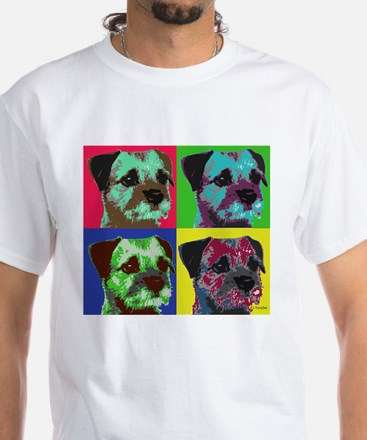 Pop Art Border Terrier White T-Shirt