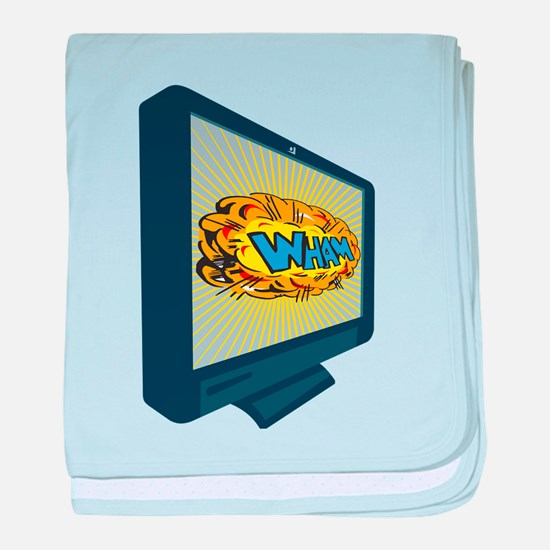 LCD Plasma TV Television Wham baby blanket