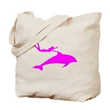 Swimming with Dolphins Pink Tote Bag