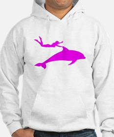 Swimming with Dolphins Pink Hoodie
