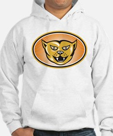 Angry Cat Head Front Retro Hoodie