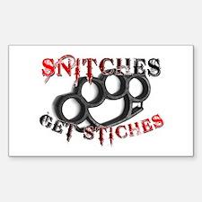 Snitches Get Stiches Sticker (Rectangle)
