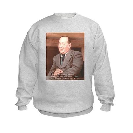 CS Lewis Aim At Heaven Quote Gifts Kids Sweatshirt