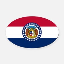 Missouri State Flag Oval Car Magnet