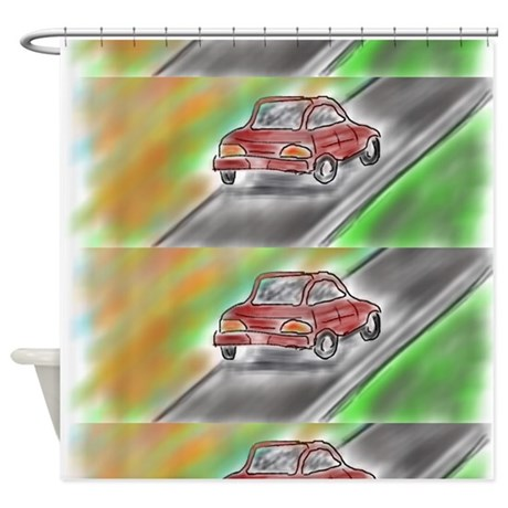 Kids Bath Little Red Car Shower Curtain By Markmoore