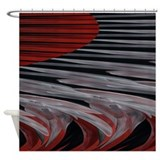Grey and red Shower Curtains
