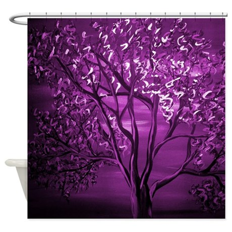 Purple Abstract Tree Shower Curtain