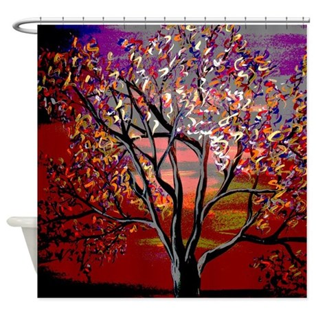 Colorful Abstract Tree Shower Curtain