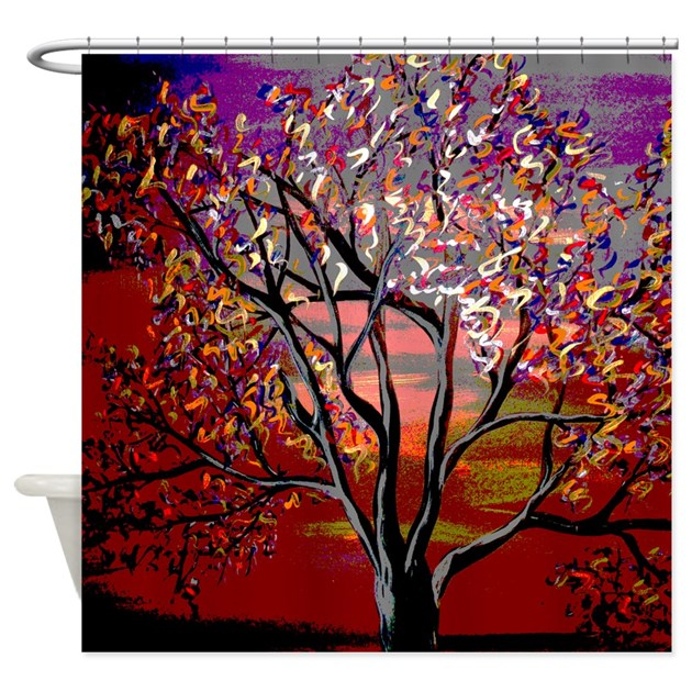Colorful Abstract Tree Shower Curtain By Markmoore