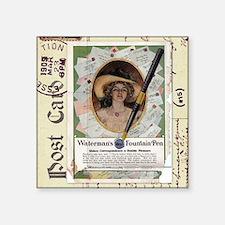 """1909 Waterman's Pen Ad Square Sticker 3"""" x 3&"""