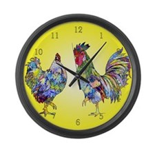 Rooster and Hen Large Wall Clock
