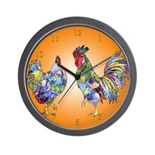 Rooster and Hen Wall Clock