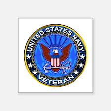 "Blue US Navy Veteran Eagle Square Sticker 3"" x 3"""