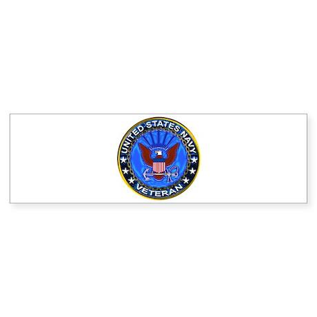 Blue US Navy Veteran Eagle Sticker (Bumper)