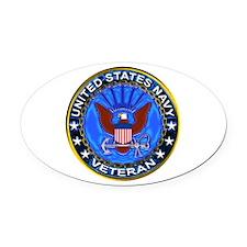 Blue US Navy Veteran Eagle Oval Car Magnet