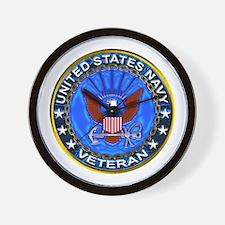 Blue US Navy Veteran Eagle Wall Clock