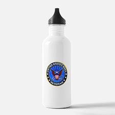 Blue US Navy Veteran Eagle Water Bottle