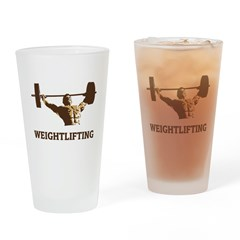 Retro Weightlifting Drinking Glass