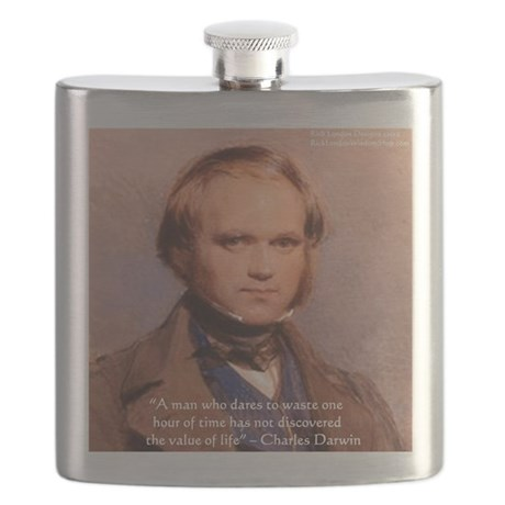 Charles Darwin The Value Of Life Quote Gifts Flask