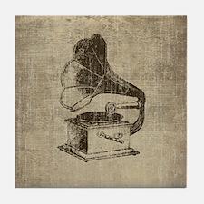 Vintage Phonograph Tile Coaster