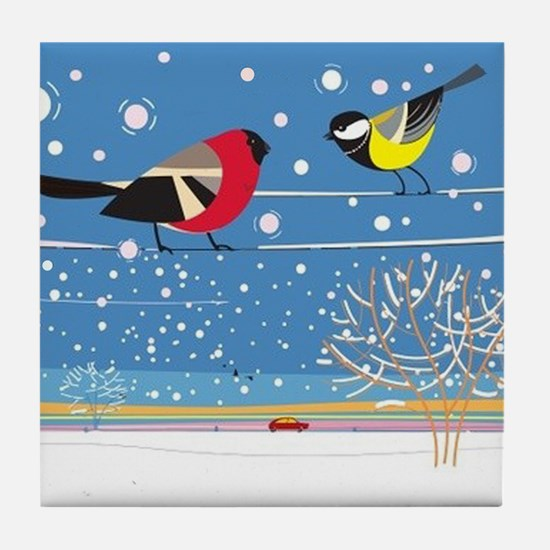 Winter Birds on a Wire Tile Coaster
