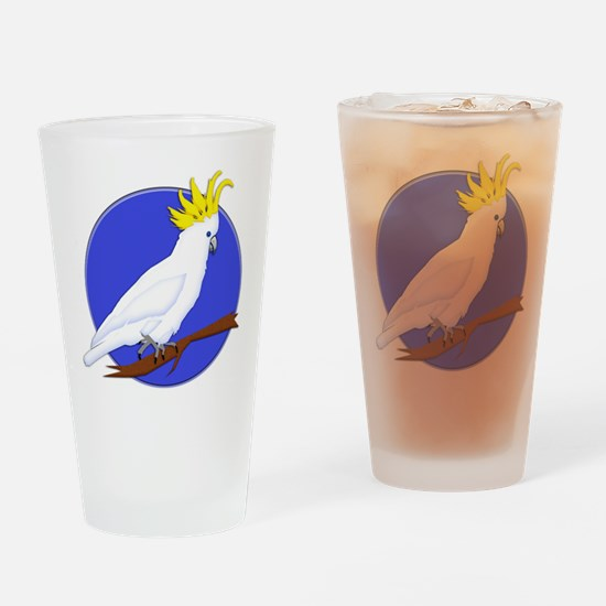 Yellow Crested Tropical Cockatoo Drinking Glass