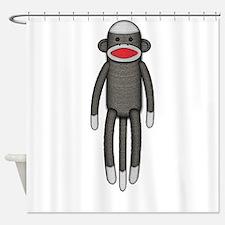 Plain Sock Monkey Shower Curtain