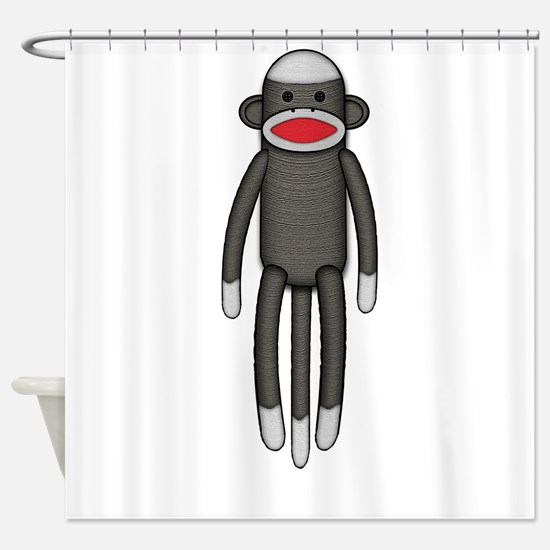 Plain Sock Monkey Shower Curtain