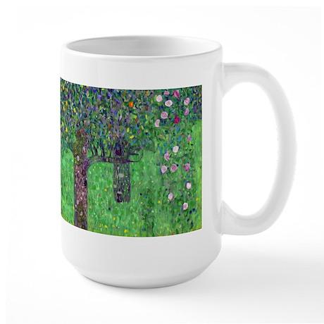 Klimt - Rosebushes Large Mug