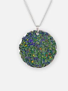Klimt - Rosebushes Necklace Circle Charm