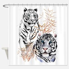White Tigers Trans.png Shower Curtain