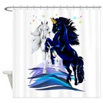 Two Unicorns and Waves Trans.png Shower Curtain