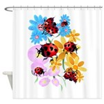 Lucky-Love Lady Bugs Trans.png Shower Curtain