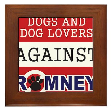Dog Lovers Unite Against Romney! Framed Tile