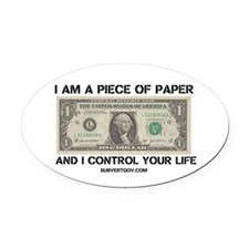 I Am a Piece of Paper Oval Car Magnet