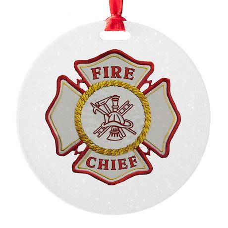 Fire Chief Maltese Round Ornament