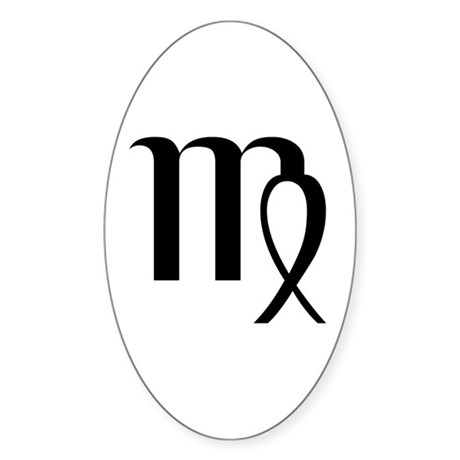 Virgo Symbol Oval Sticker